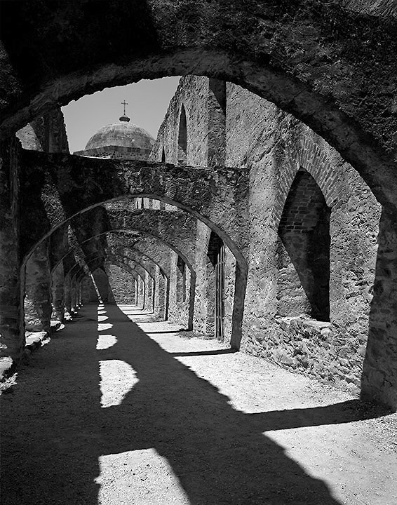 Mission San Jose Convent Arches. San Antonio, Texas.